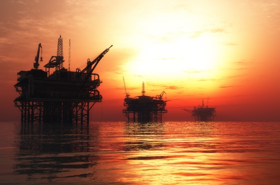 Oil and gas platform at night